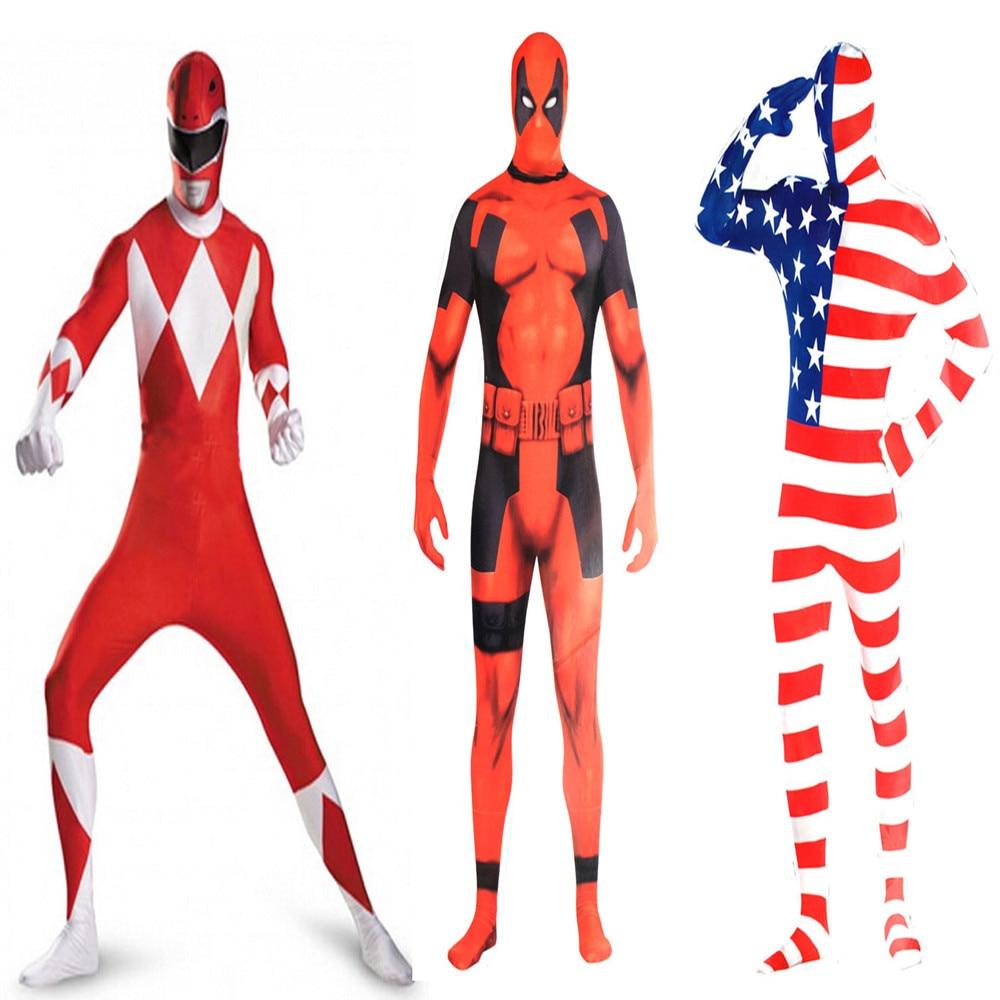 Deadpool POWER RANGERS Costumes POWER RANGERS SAMURAI Lycra bodysuit mask Cosplay Halloween American flag Adult men Costumes -in Movie u0026 TV costumes from ...  sc 1 st  AliExpress.com & Deadpool POWER RANGERS Costumes POWER RANGERS SAMURAI Lycra bodysuit ...