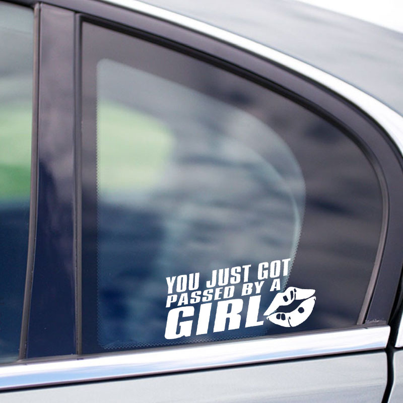 YJZT 16CM*7.8CM Fun YOU JUST GOT PASSED BY A GIRL Decoration Vinyl Car Sticker Decal Black/Silver C11-0733