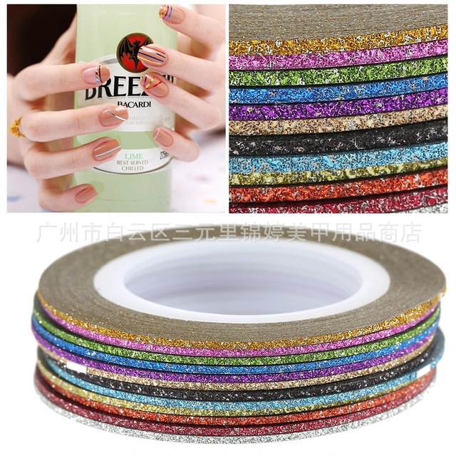 1mm 12 Color Glitter Nail Striping Line Tape Sticker Set Art Decorations DIY Tips For Polish Nail Gel  2017