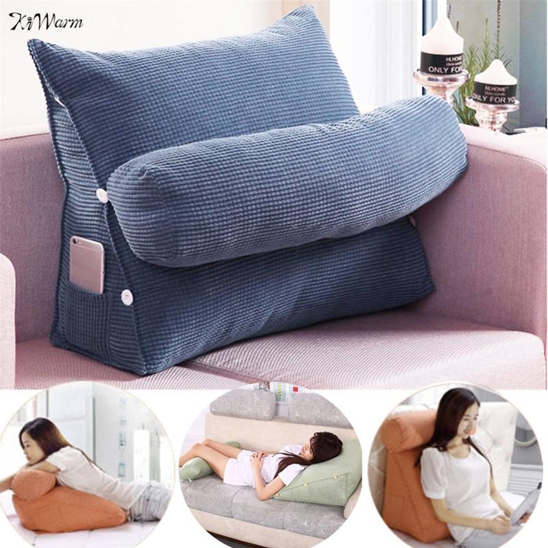 HTB1DQI0X6zuK1Rjy0Fpq6yEpFXaF Triangle Sofa Cushion Back Pillow Bed Backrest Office Chair Pillow Support Waist Cushion Lounger TV Reading Lumbar Home Decor