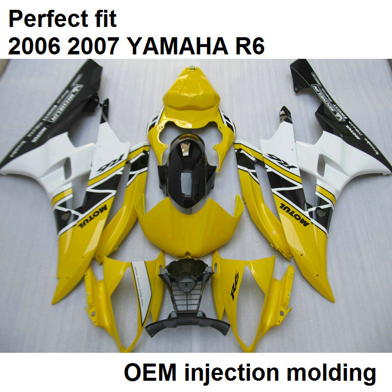 Aftermarket Body Parts Fairings For YAMAHA YZF R6 06 07 Yellow White Black Motorcycle Fairing Kit R6 2006 2007 HZ32 title=
