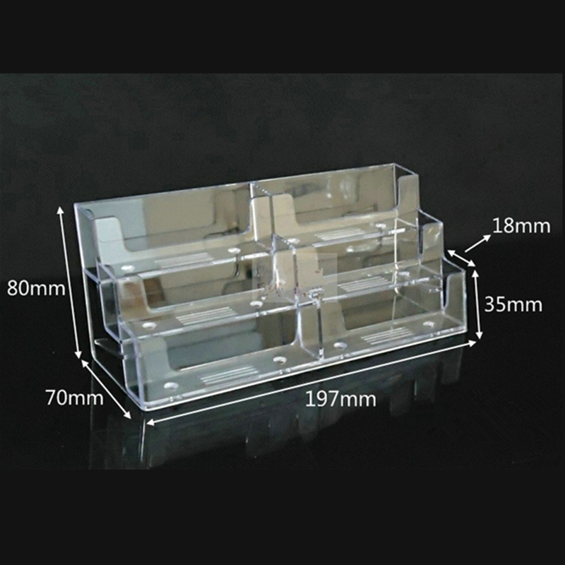 1Set/2Pcs Desktop Business Card Holder 6 Pockets Desktop Office Picture Holders Acrylic Counter Top Calling Card Display Stand-in Card Holder & Note ...