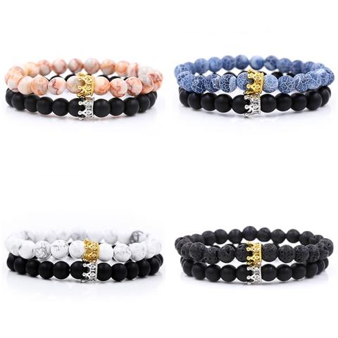 Мода 2019 2 шт/компл наборы браслетов с бусинами из натурального