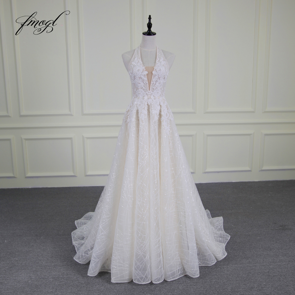 Fmogl Vestido De Noiva Sexy Backless Wedding Dresses 2019 Luxury Halter Appliques Beaded Sweep Train Bride Gowns Plus Size