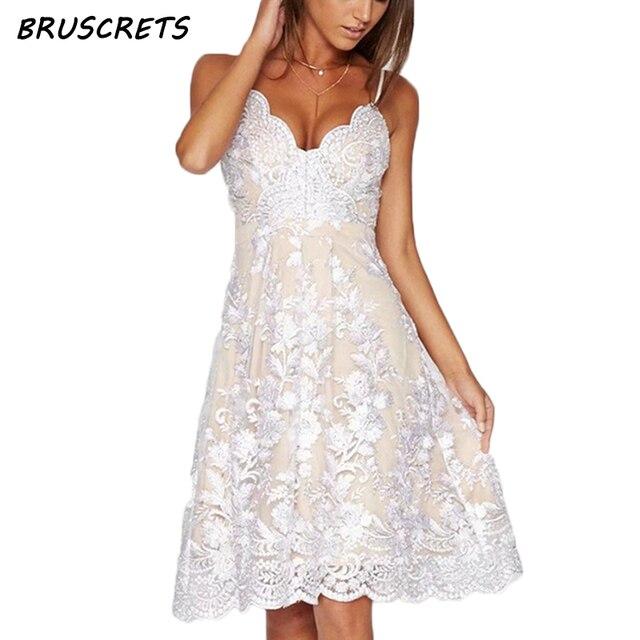 Foral bestickte kleid frauen spitzenkleid cami weiß schulterfrei ...