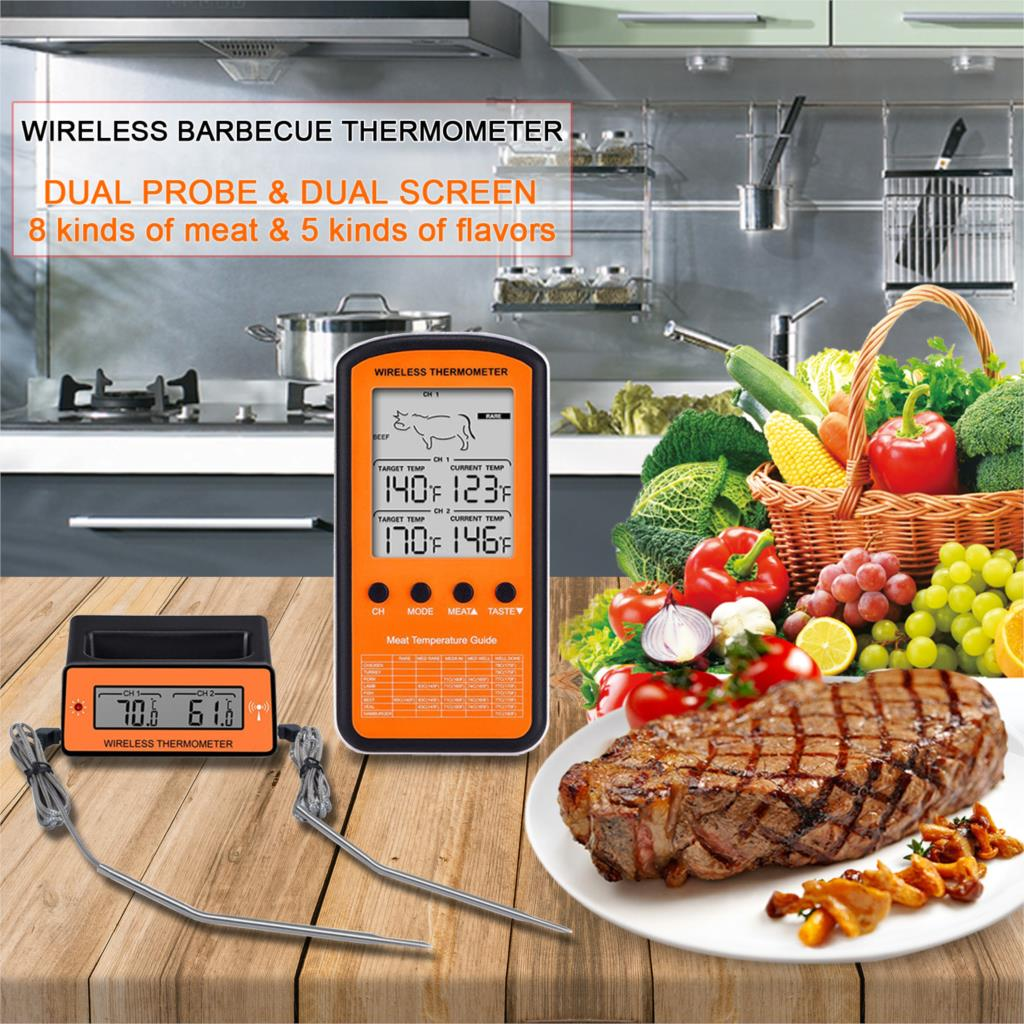 Image 3 - MOSEKO Dual Probe Digital Wireless Oven Thermometer For Meat Water Food Barbecue BBQ Cooking Kitchen Timer Temperature Alarm-in Temperature Gauges from Home & Garden