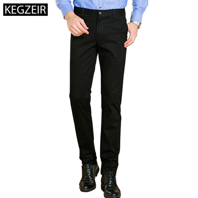 KEGZEIR New Design Mens Casual Pants Skinny Brand Spring Winter Mens Trousers Slim Fit  Stretch Mens Classic Pants Full Length