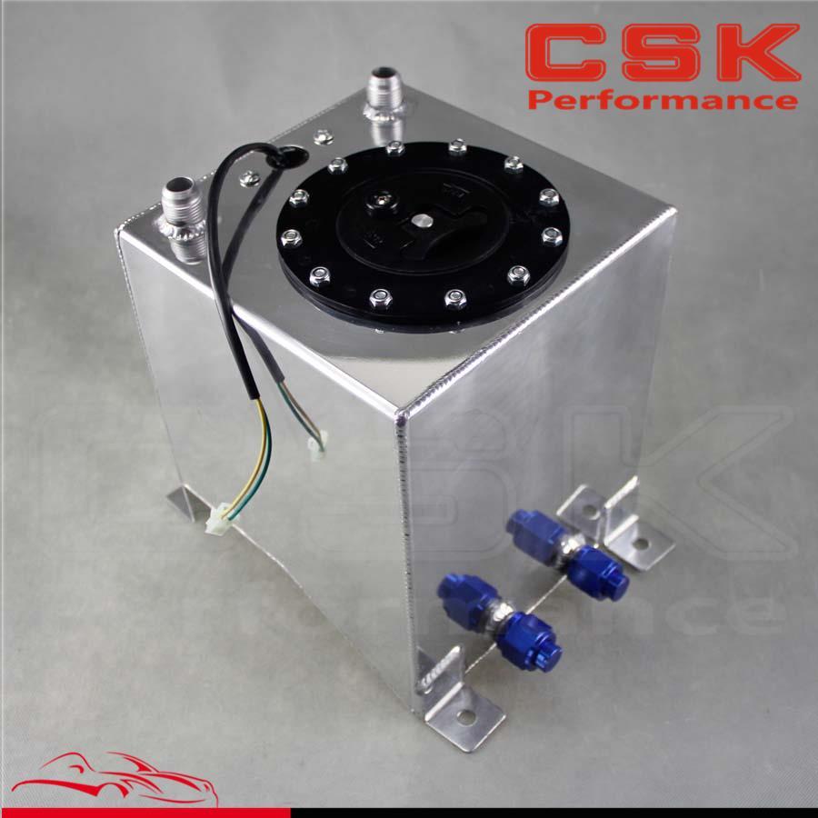Racing Drift Fuel Cell Tank 9.5 Liter +Level Sender 2.5 Gallon Polished Aluminum lzone racing black aluminium fuel surge tank with cap foam inside fuel cell 40l without sensor jr tk21bk