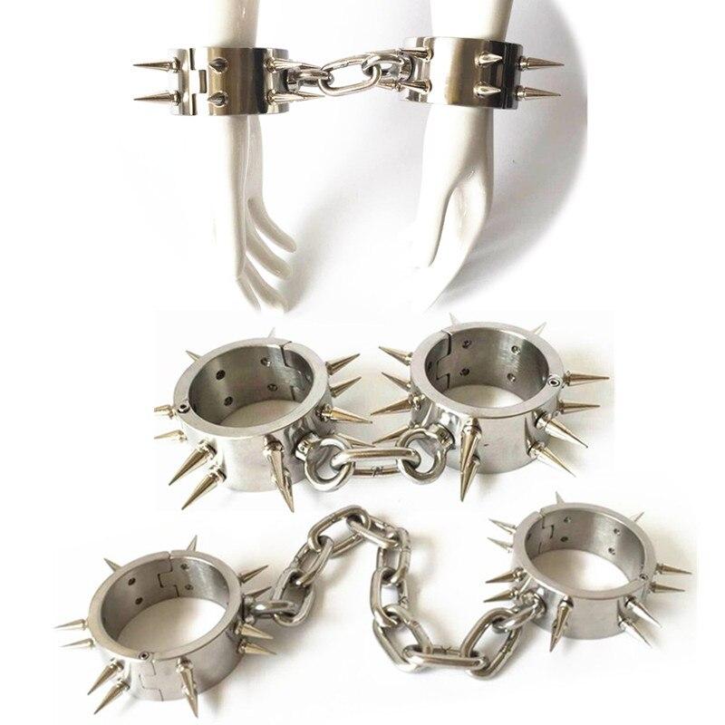 Kit de retenue en acier inoxydable collier menottes manilles avec épine sexe fétiche esclave collier Sex Toys pour femmes homme G7-6-123