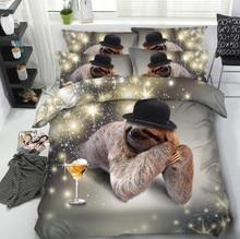 Sloth Bedding set Luxury Kids 3D quilt duvet cover bed in a bag sheet linen Cal California King Queen size twin full double 4PCS 3d floral bedding set luxury cal king queen size leopard sheets quilt duvet cover bed in a bag sheet linen full twin double 4pcs