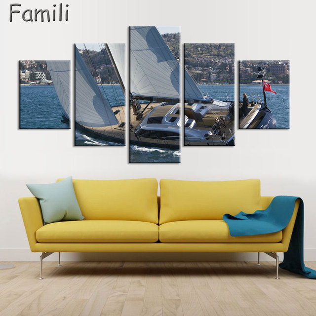 Mordern Seascape Painting Sailing Boat Oil Picture Wall Art Canvas ...