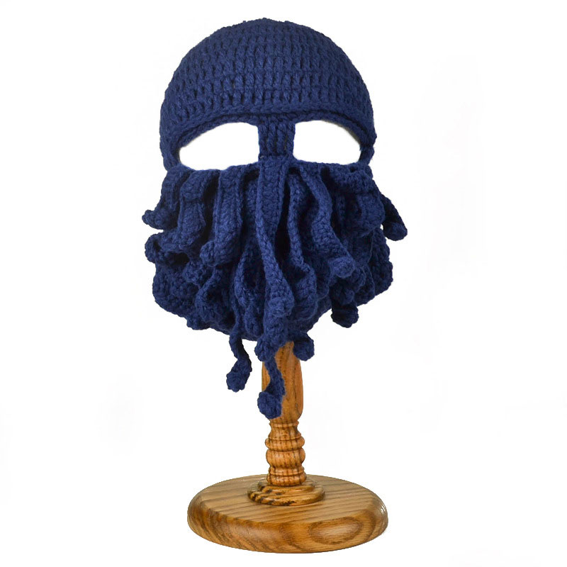 d2ca2288b32 Mens Womens Funny Sea Creature Hat Crochet Cthulhu Squid Octopus Beanie  Hats Ski Mask Knit Bread Black Gray Yellow Navy Green-in Skullies   Beanies  from ...