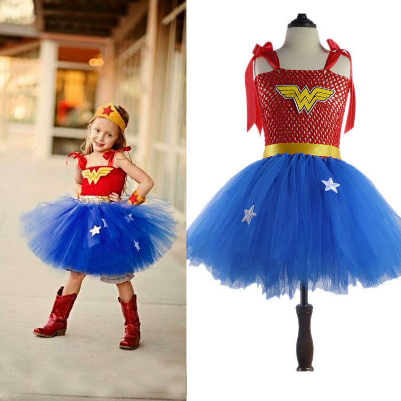 Summer Baby Girl Tutu Dress Wonder Woman Halloween Costume Birthday Dresses For Party Cosplay Superman Costume Baby Party Frocks fancy girl mermai ariel dress pink princess tutu dress baby girl birthday party tulle dresses kids cosplay halloween costume