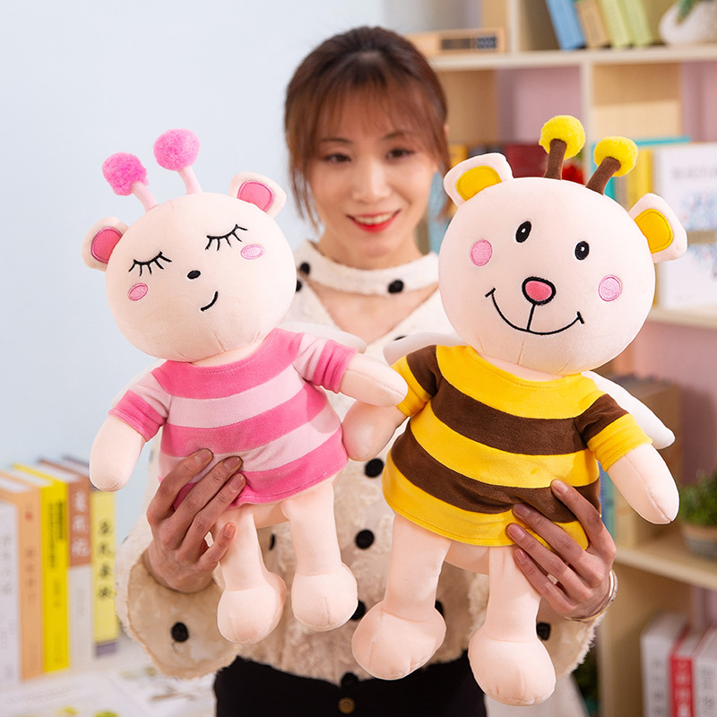 New Creative Bee Bear Doll Plush Toys Stuffed Animal Cute Family Baby Toy Children Birthday Gift