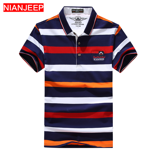 6f316a69dde7 NIANJEEP Brand Summer Men Fashion Striped POLO Shirts Breathable Cotton  High Quality Male Casual Short Sleeve Polo Shirt
