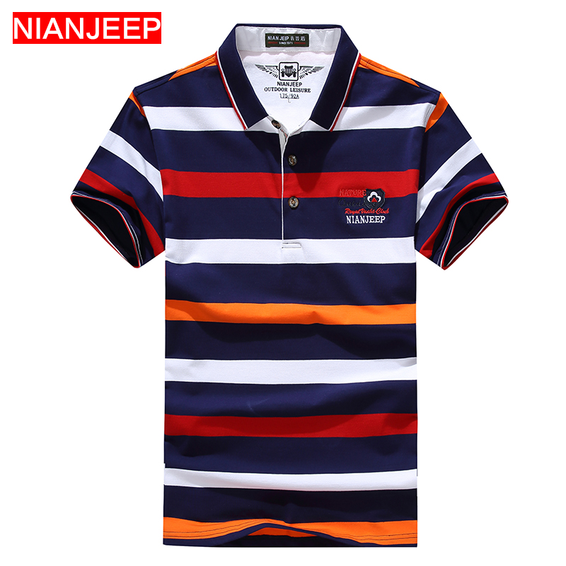 NIANJEEP Brand Summer Men Fashion Striped   POLO   Shirts Breathable Cotton High Quality Male Casual Short Sleeve   Polo   Shirt