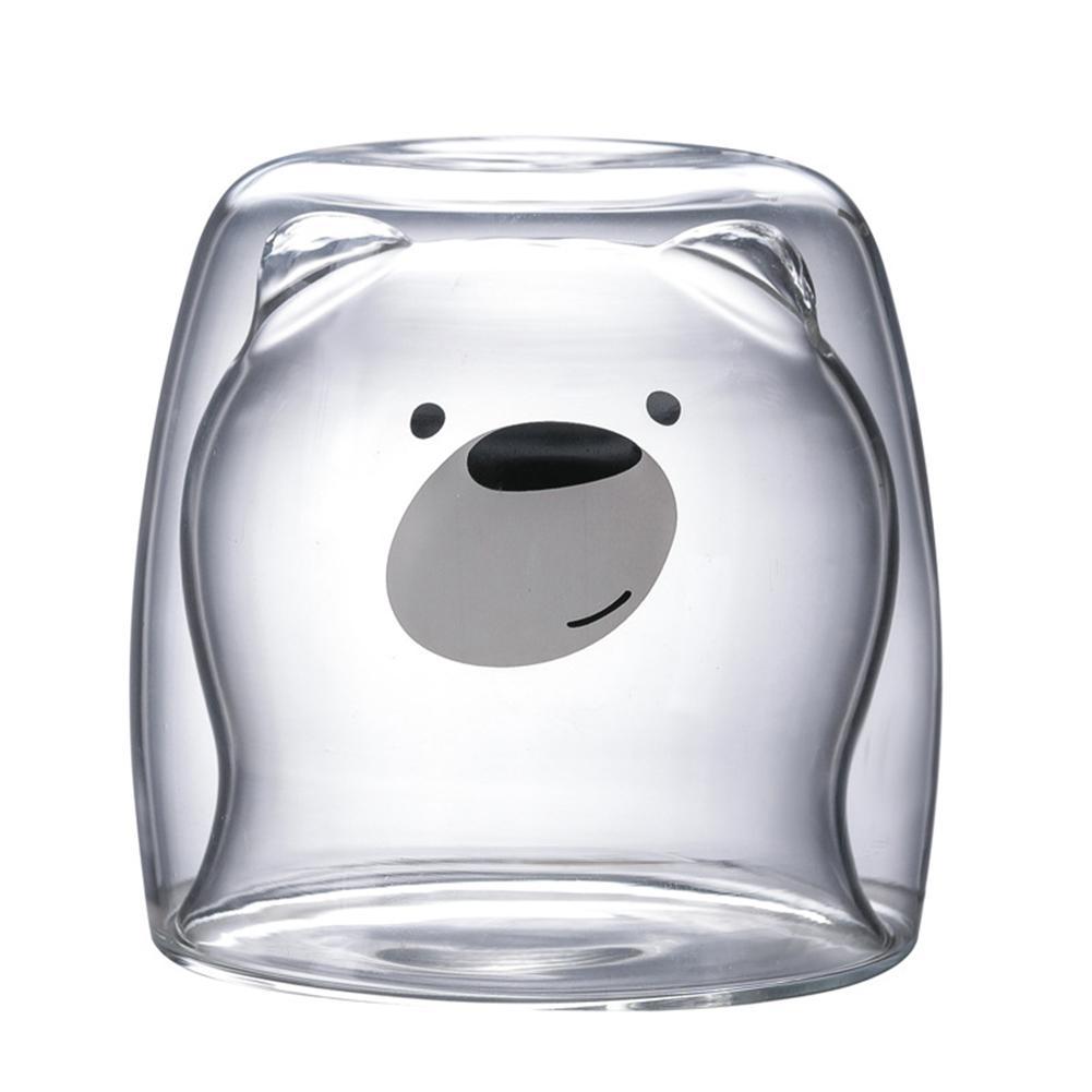 Креативная прозрачная стеклянная кружка с двойными стенками, мультяшный медведь, кошка, утка, кофейная кружка, Молочный Сок, милая чашка, отправить подруге подарок, кошачья лапа, чашка - Цвет: A