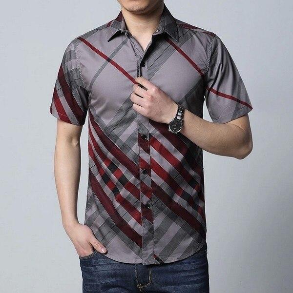 3 cores Novo 2015 moda masculina casual de manga curta faixa de designer camisa 100% dos homens do algodão além de grande tamanho XXL XXXL 4XL 5XL 6XL