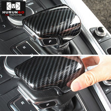 Auto Styling automatische snelheid pookknop hoofd carbon fiber cover Sticker Voor Audi A4 B9 A5 Q7 shifter trim auto Accessoires(China)