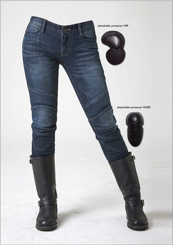 цены 2016 Newest Cool uglyBROS Featherbed women jeans Riding a motorcycle jeans trousers girl jeans motor pants blue