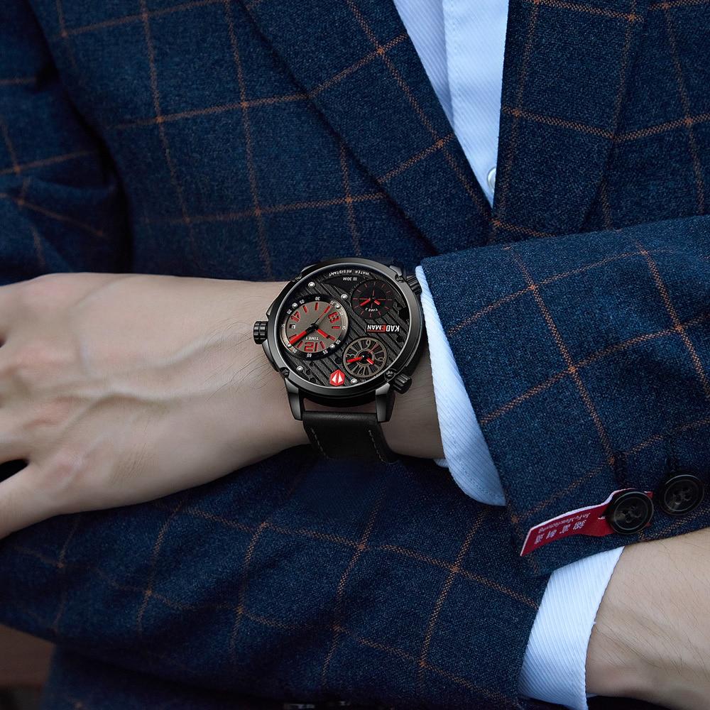 Kademan 남성용 시계 빅 다이얼 3 시간대 패션 비즈니스 럭셔리 브랜드 로즈 골드 방수 가죽 relogio masculino 6100-에서수정 시계부터 시계 의  그룹 3