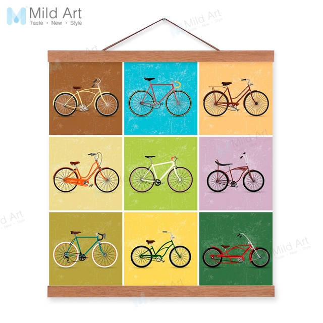 Vintage Retro Color Bike Bicycle Wooden Framed Hanger Poster Living ...