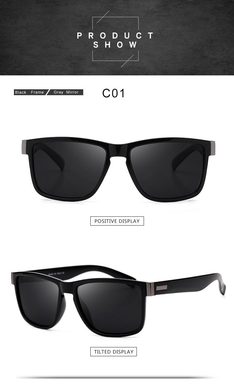 ASUOP 2019 New Men's Polarized Sunglasses UV400 Fashion Square Ladies'Glasses Classic Retro Brand Design Driving Sunglasses (2)