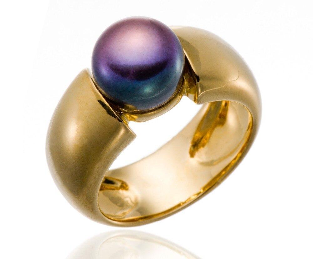 Hutang noir violet perle de culture d'eau douce (9-9.5mm) anneaux solide 925 bague en argent Sterling pour les femmes Fine élégante bijoux cadeau - 2
