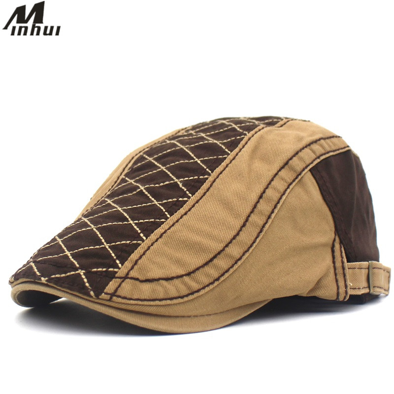 2019 New Spring Summer Hats for Men Cotton Beret Flat Cap Boina Casquette Gorras Plaid Patch Caps Mens Hat