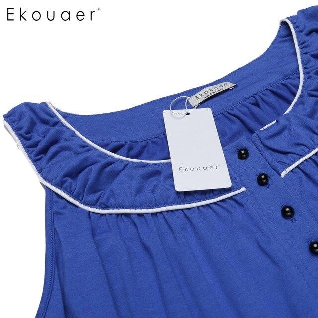 Ekouaer New Casual Loose Maxi Nightgown Women Sleeveless Solid Ruffle Hem Button Long Sleepware Summer Patchwork Sleepwear 3