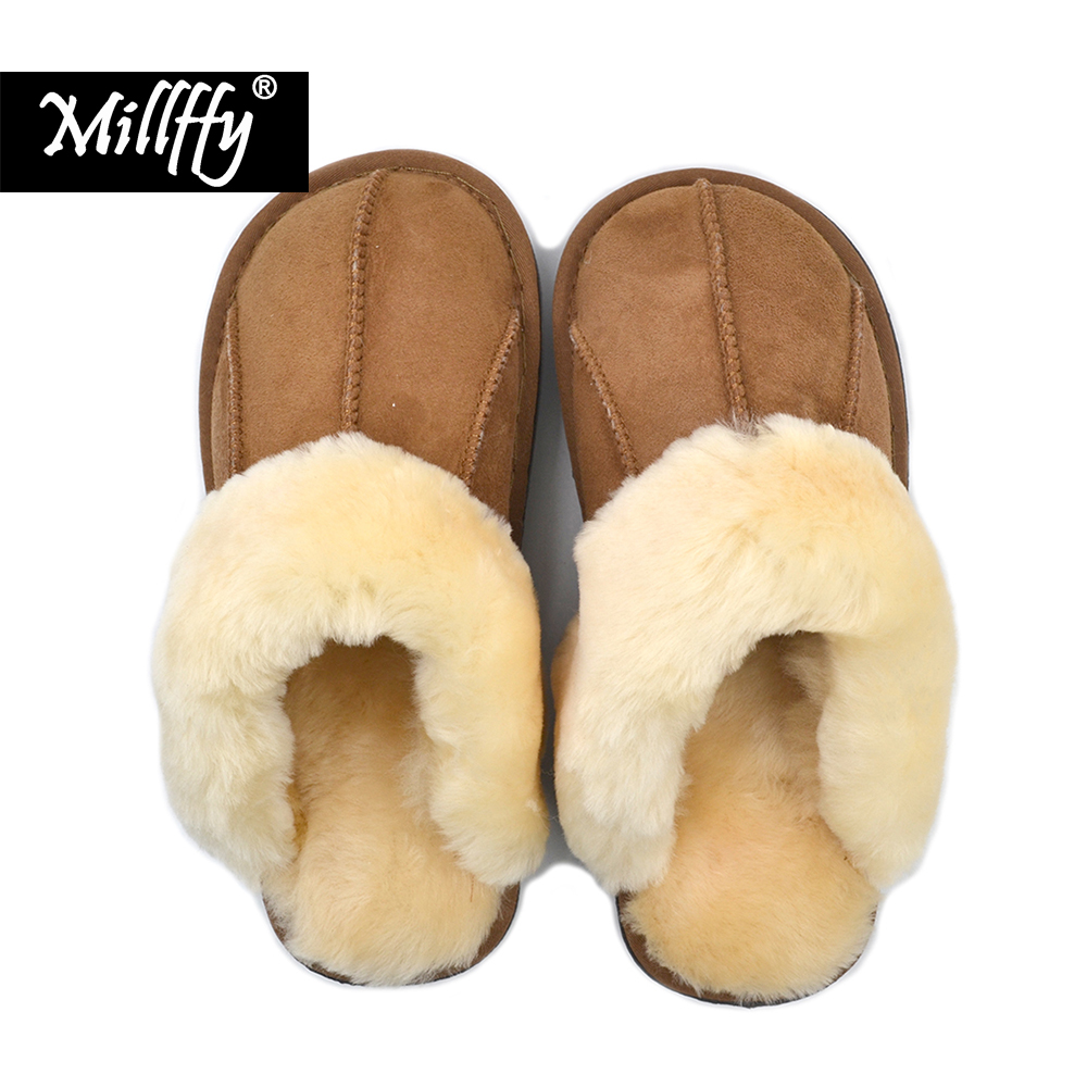 Millffy NEW Sheepskin new home slippers man slipper summer fashion Korean indoor air conditioning slippers millffy japanese summer ladies flats cotton bow home slippers indoor slippers