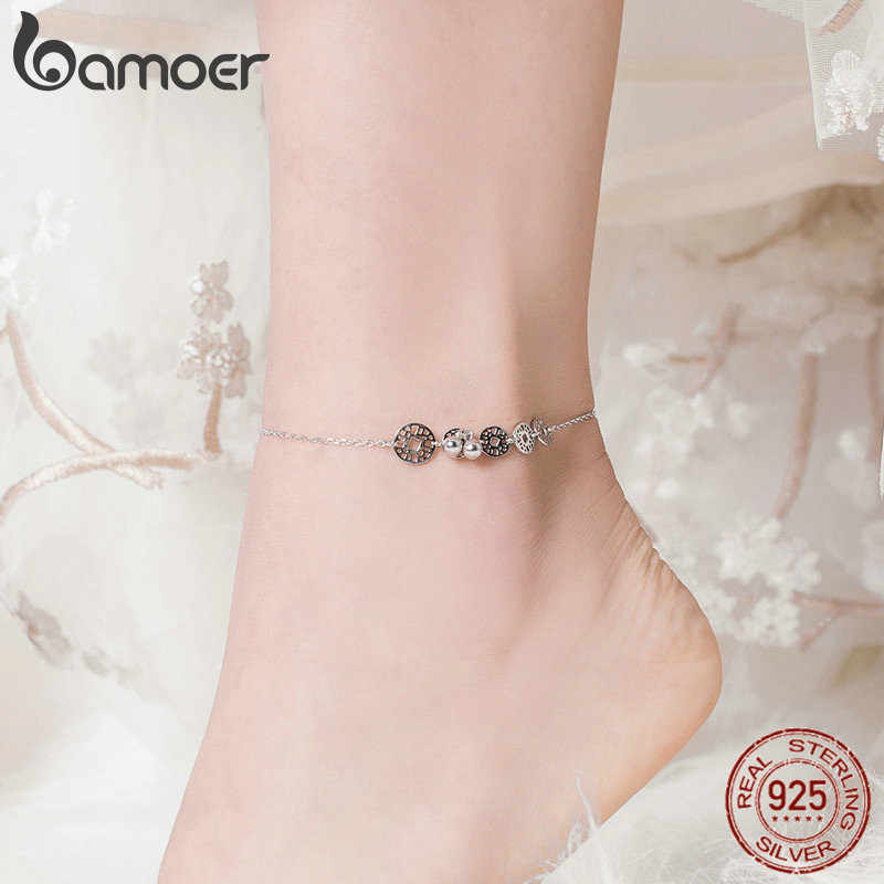 bamoer Coins Round Anklets for Women 925 Sterling Silver Foot Accessories Ankle on the Leg Jewelry Gifts Foot Chain Girl SCT006