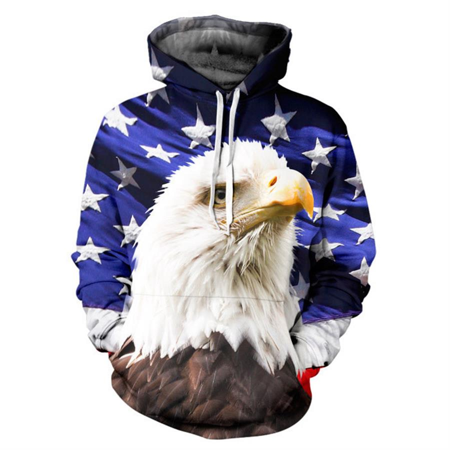 Fashion USA Flag Sweatshirt Men Women Hoodies Hooded 3d Print Stars Eagle Long Sleeve Cap Hoodies With Front Pockets R3545