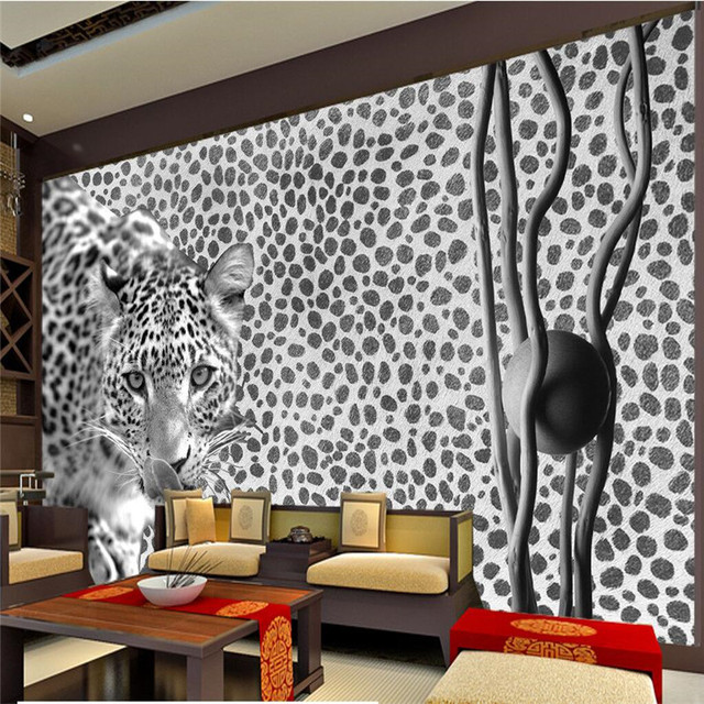Beibehang Wallpaper Custom Wallpaper Mural Living Room Bedroom Fashion  Stereo Leopard Sofa TV Background Wall Decoration