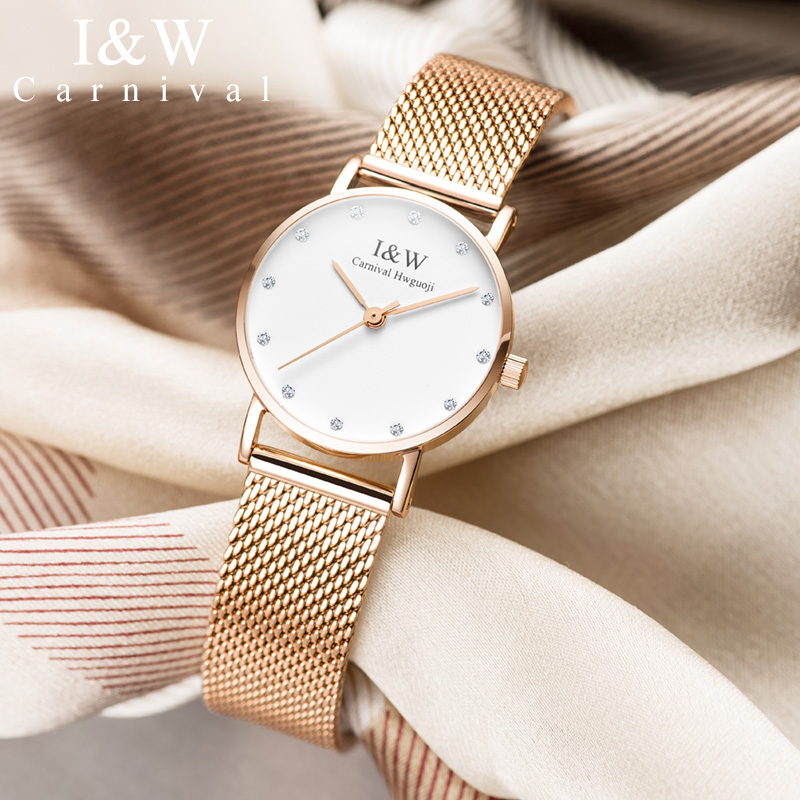 Carnival iw authentic ladies watch female quartz watch fashion trend waterproof student watch male couple table super thin clock carnival iw authentic ladies watch quartz watch steel mesh with noble women s watch waterproof ultra thin simple women s watch