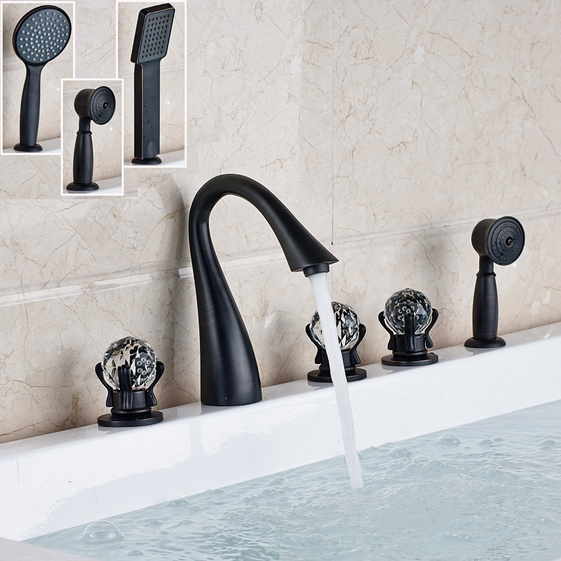 Contemporary Widespread Bathroom Tub Mixer Faucet deck Mounted 3 Crystal Handles Bathtub Filler with Handshower