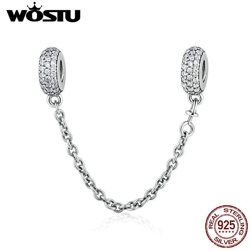 Prawdziwe 925 sterling Silver Pave Inspiration Safety Chain Charm z - Modna biżuteria - Zdjęcie 2