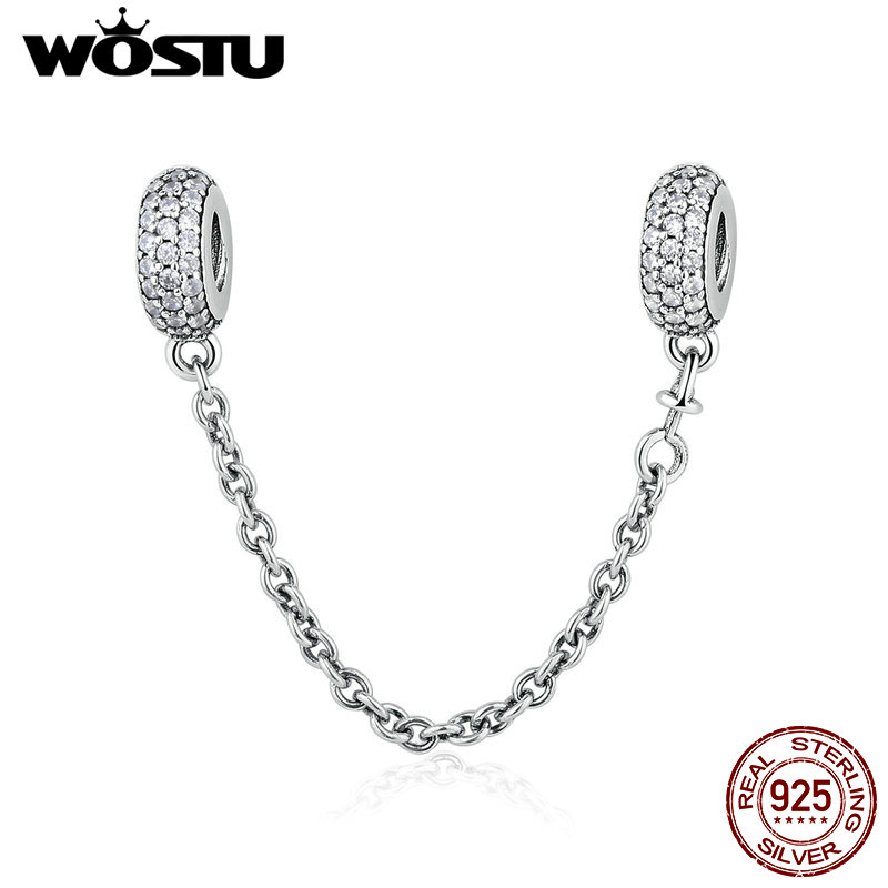 Real 925 Sterling Silver Pave Inspiration Safety Chain Charm With Clear CZ Fit Original pandora Bracelet Authentic Jewelry Gift