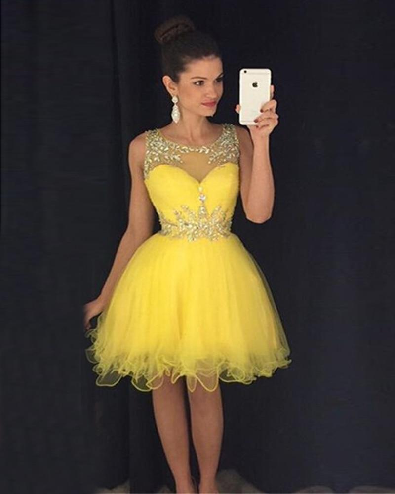 16d9a953fa976 Vestidos de noche cortos amarillos – Vestidos hermosos y de moda 2018