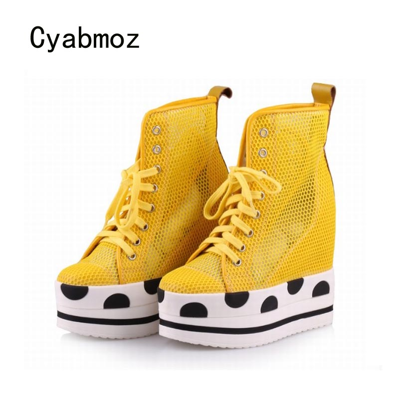 Cyabmoz Women High top Platform Wedge Shoes Sexy High heels Height increasing Breathable Hollow White Woman Casual Ladies Shoes wdzkn 2017 platform wedge casual shoes women high heels black white height increasing women shoes female chaussure size 35 40