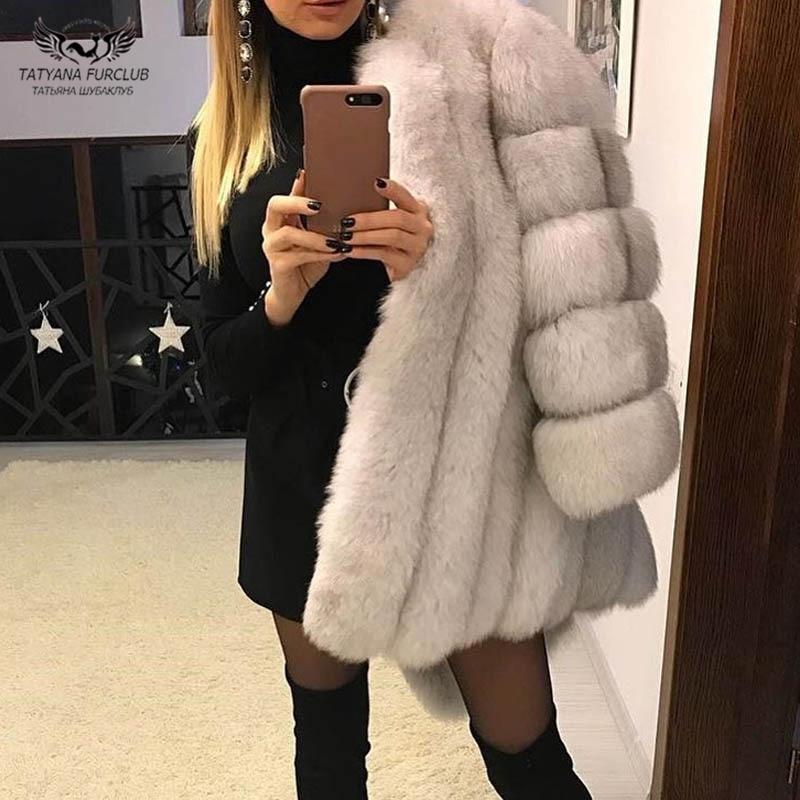 Tatyana Furclub réel manteau de fourrure manteau de fourrure de renard naturel pour les femmes veste fille hiver manteau fille rose col rond à manches longues Style de rue - 4