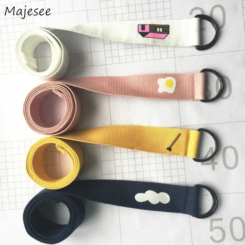 Belts Women Korean Style Harajuku Style Interesting Cartoon Canvas Belt Simple Daily Cute Kawaii Trendy All-match Needle Buckle