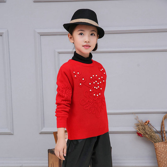 Children Girls Sweater Long-sleeve Pullover Girls Clothing Red Baby Girls Knitted Sweaters Pearls Floral 3-10 years SAJ3114