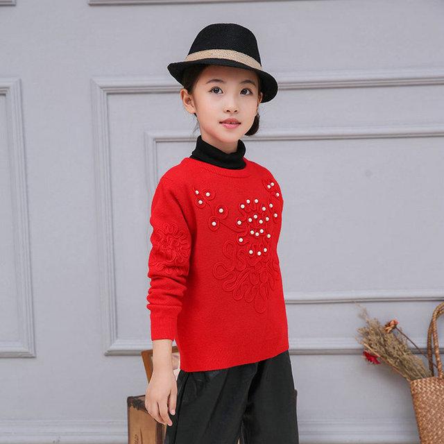 Niños Niñas Suéter Suéter Largo de la manga Roja de la Ropa Bebé Niñas Suéteres De Punto Perlas Floral 3-10 años SAJ3114