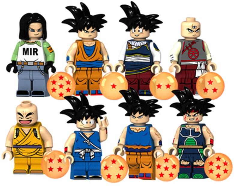 KT1009 80PCS Dragon Ball Goku Son Goten Gotenks Trunks Tien Shinhan Android 17 Building Blocks Toy