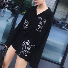 2018 Autumn Women Shirt Lapel Fashion Blouse New Long Sleeves Shirts White Black Blusas Long Paragraph Loose Blusa One Size