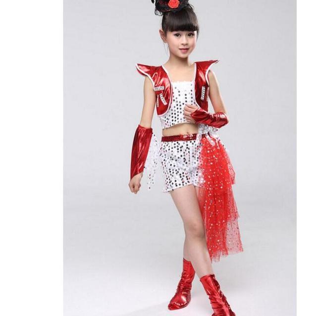 76d2c84f9 Nuevo traje de baile salón niñas lentejuelas vestido Jazz 2 colores ropa para  niños actuación