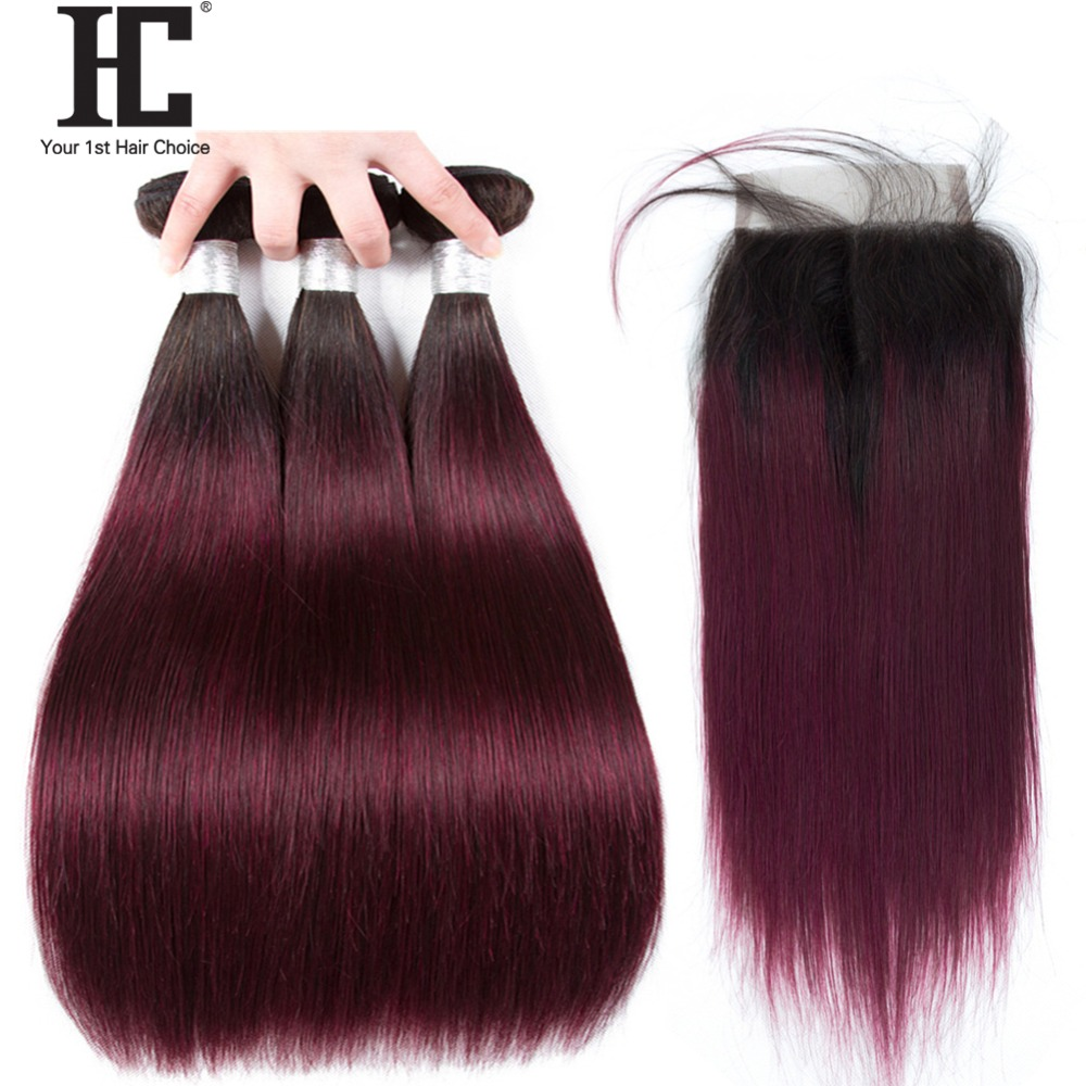 """Ombre Brazilian Straight Hair Bundles With Closure Non Remy Human Hair Extensions 1b/99j Red Wine 10 28"""" Hair Weave With Closure-in 3/4 Bundles with Closure from Hair Extensions & Wigs    1"""