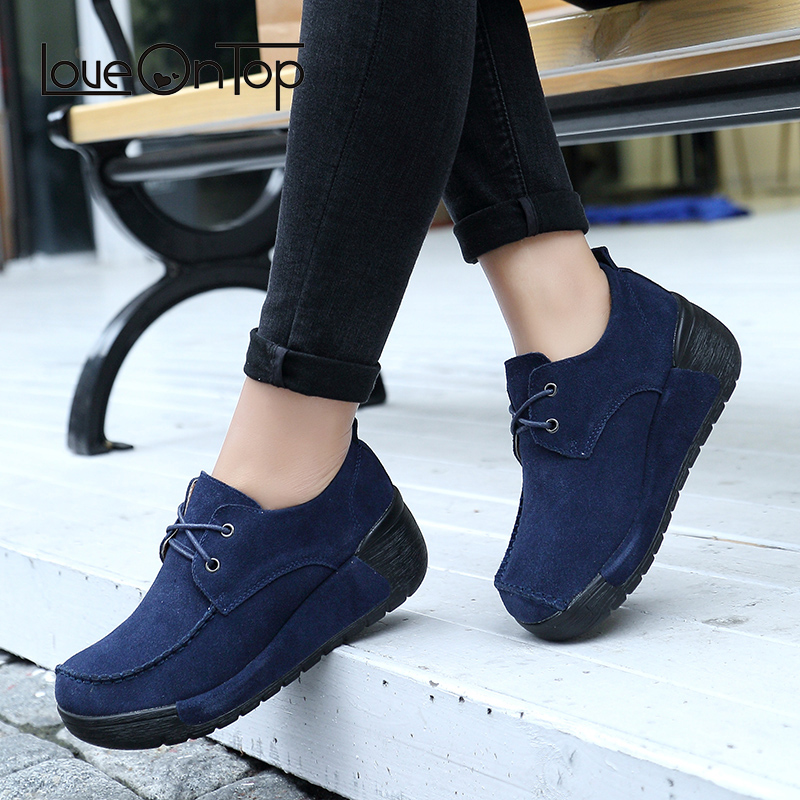 Loveontop Women Moccasins Loafers Flats Platform Shoes Suede Casual Genuine Leather Slip On 2018 Fashion Shoes Woman Moccasin 2018 autumn new vintage casual handmade shoes woman flats genuine leather fashion women shoes slip on women s loafers moccasins