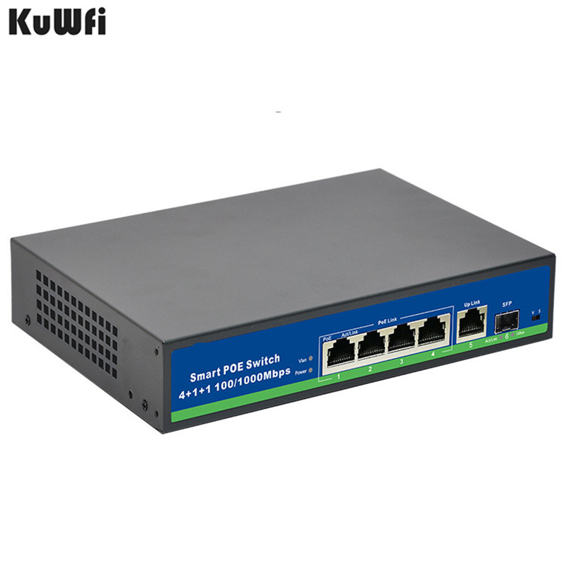 Image 2 - 48V Power Gigabit 10/100/1000Mbps 4 Port POE Switch With 1Uplink And 1SFP Port For POE Camera Support Vlan MDI/MDIX Auto Flip-in Network Switches from Computer & Office